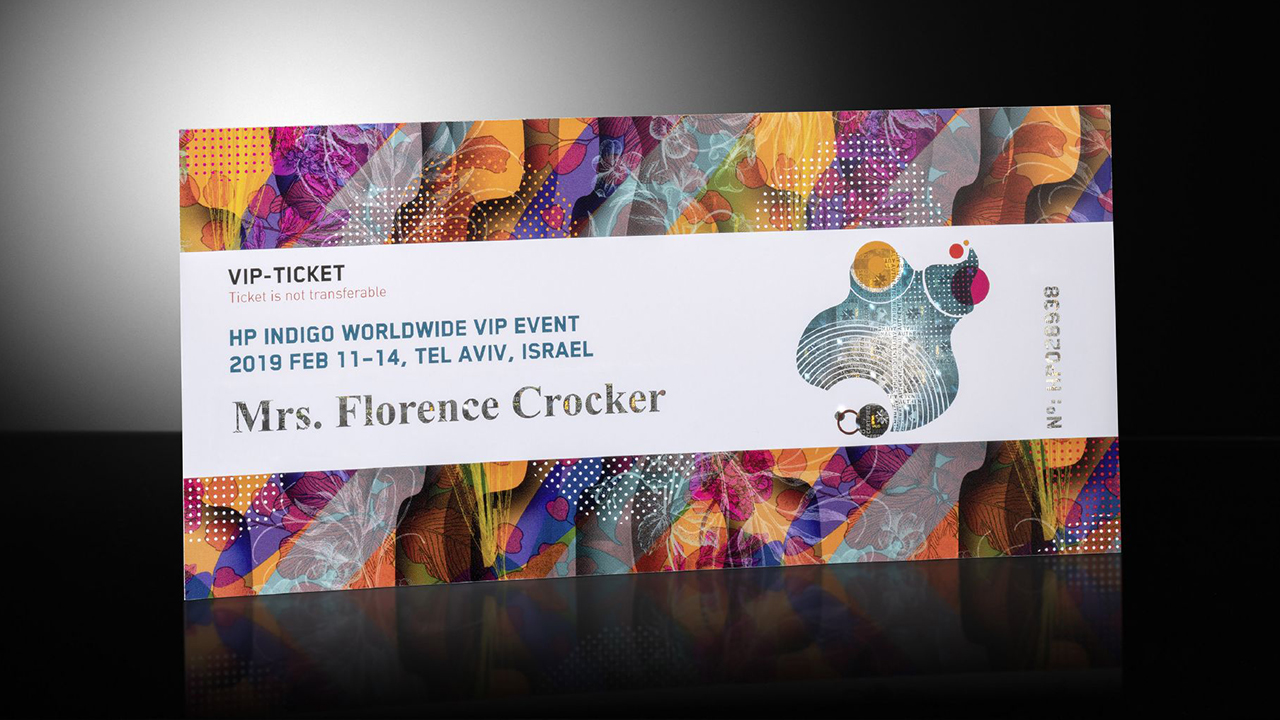 Digitally finished VIP ticket with sparkling floral design