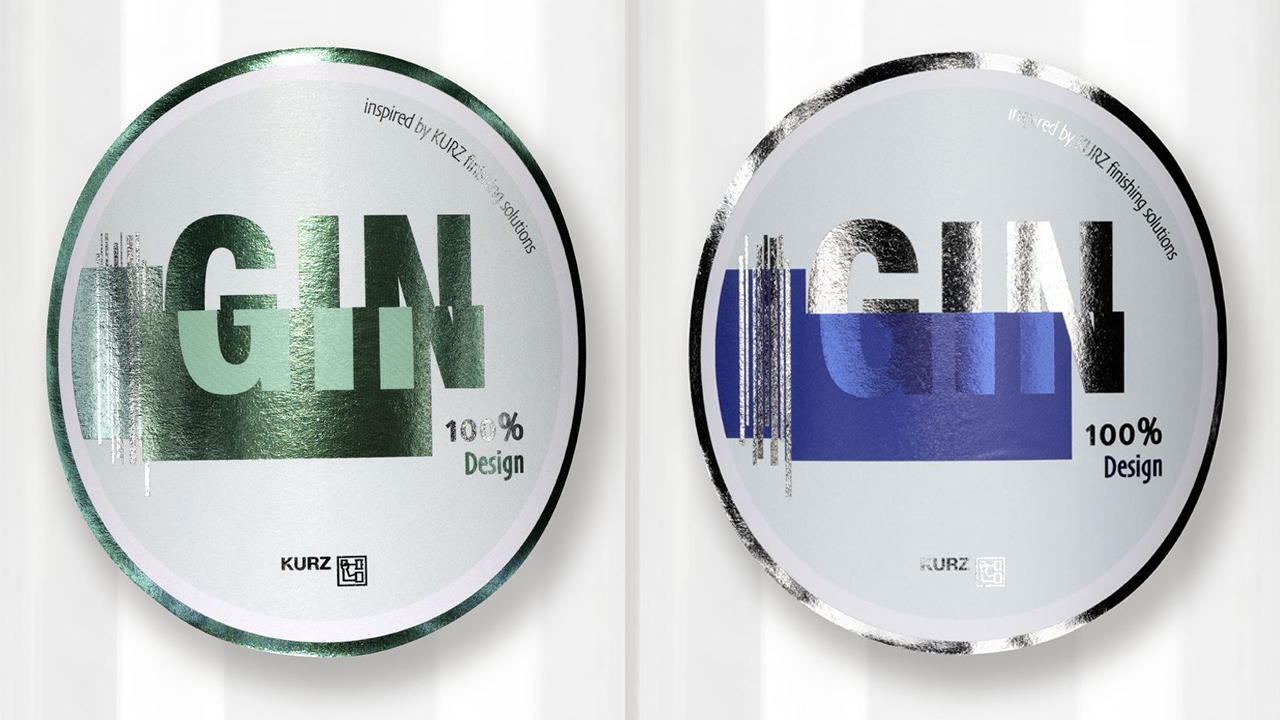 Set of two labels with blue and green metallic finishing
