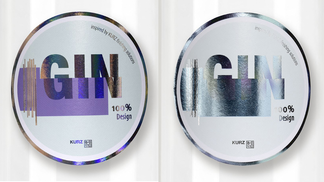 Two metallic shining round labels on a transparent background